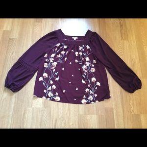 Lauren Conrad purple floral long sleeve blouse